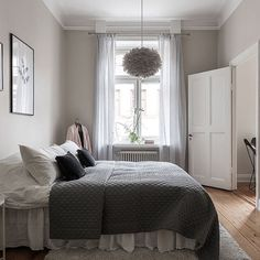 How gorgeous is this bedroom! Love the grey, pink and white colour combo 👌🏻 Vita Eos light shade available online 💫 . Image via #Pinterest #bedroom #bedroomdecor #nordichome #nordicinspiration