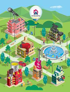 This is illustrations for application of Korea University of Media Arts. Isometric Map, Isometric Design, Korea University, Korean Illustration, Creating Games, Smart City, Cartography, Design Agency, Medium Art