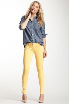 You can't got wrong with chambray + yellow {Shane Faux-Front Cigarette Soft Jean by Genetic Denim}