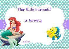Updated! Free Printable Ariel the Little Mermaid Invitation Template | Drevio Invitations Design