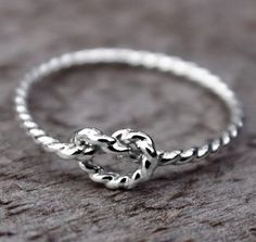 Items similar to Rope Love Knot Ring, Nautical Knot Ring, Sterling Silver Bridesmaid jewelry, Tie the knot ring on Etsy Cute Jewelry, Jewelry Box, Jewelery, Silver Jewelry, Jewelry Accessories, Love Knot Ring, Friendship Rings, Bridesmaid Jewelry, Rings