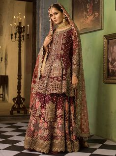 Pakistani designer Zainab Chottani has this beautiful Lehenga for sale in UK for brides. This Lehenga is heavily embellished and embroidered and is a beautiful display of craftsmanship and beauty and expertise. Pakistani Couture, Pakistani Bridal Dresses, Bridal Gowns, Pakistani Suits, Punjabi Suits, Pink Lehenga, Bridal Lehenga Choli, Saree, Latest Bridal Dresses