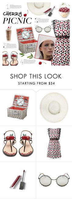 """""""Cherry picnic"""" by edita1 ❤ liked on Polyvore featuring Behance, Picnic Time, Melissa Odabash, Gucci, Giamba, Burberry, Valentino and picnic"""