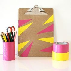 Makeover some plain back-to-school supplies with duct tape designs! #DIY #supply #school