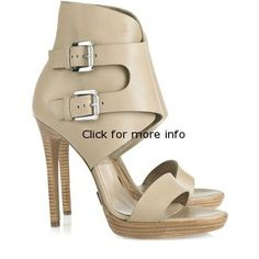Beige Leather Wooden Platform Ankle Cuff Sandals6434