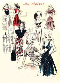 1940s fashion for summer. Plaudits, dresses, skirts and tops. #1940s #1940sfashion #illustration #summerfashion