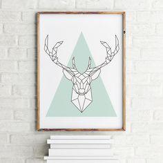 Geometrical animal art print poster Deer / Printable / Scandinavian art / Nordic Art / Wall Decor / digital print illustration (6.00 USD) by MBmindbackup