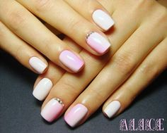 Color transition nails, Gentle summer nails, Nails ideas 2016, Nails with rhinestones, Nails with stones, Ombre nails, Ombre short nails, Pale pink nails