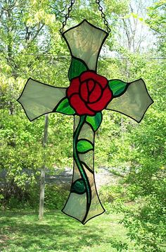 Stained Glass Red Rose Cross Suncatcher