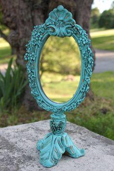Turquoise. Vintage. Ornate Hand Mirror.  Eightysix56.etsy.com