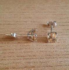 Genuine Citrine stud earrings in solid sterling by TheAladdinsCave