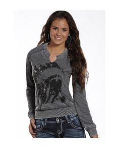 Panhandle Slim Women's Rock & Roll Cowgirl Long-Sleeve Knit Sweatshirt https://www.countryoutfitter.com/products/57220-womens-rock-and-roll-cowgirl-long-sleeve-knit-swea