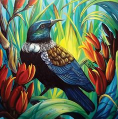 Enchanted - by Irina Velman, NZ. A tui bird takes shelter and sustenance in the… Canvas Art Prints, Painting Prints, Art Maori, Tui Bird, Graffiti, New Zealand Art, Nz Art, Kiwiana, Guache