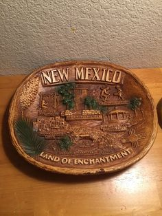 New Mexico syroco souvenir platter by Art TACO 50's or 60s, Land of Enchantment