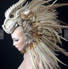 MADE TO ORDER Dragon Warrior feather mohawk headdress headpiece tribal fantasy Larp cosplay Dragon Warrior, Mode Costume, Costume Makeup, Headgear, Larp, Costume Design, Wearable Art, Character Inspiration, Style Inspiration