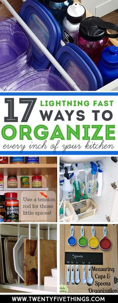 These kitchen organization ideas are so easy you can do them today. You probably already have most of the things you need. I can't believe I didn't do this sooner! #OrganizationIdeas #KitchenOrganization