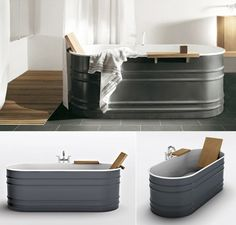 """Patricia Urquiola's Vieques Tub has me wanting to replace my builder's grade bathtub pronto.        Steel tub, with white finish on the inside and dark grey finish on the outside, can be complemented by a teak shelf and backrest. A contemporary restyling of the old-fashioned bath tub, for a decidedly unconventional environment."" cm 170 x 72 x 60h – 66″7/8 x 28″3/8 x 23″5/8h"