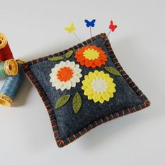 "GOOD IDEA: MACHINE STITCH 1/4"" IN, THEN HAND BLANKET STITCH - Wool Felt Pincushion / Small Pillow / Orange by TheBlueDaisy, $21.00"