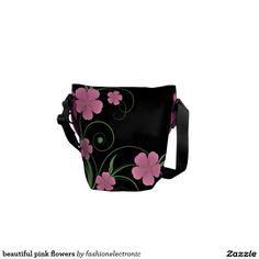 beautiful pink flowers messenger bag