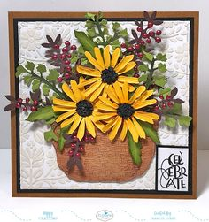 Hi Crafty Friends, Today I am sharing a card I created using some dies from the Susan's Garden collection available from Elizabeth . Paper Flowers Diy, Handmade Flowers, Unique Cards, Cool Cards, Handmade Birthday Cards, Greeting Cards Handmade, Sunflower Cards, Handmade Envelopes, Elizabeth Craft Designs