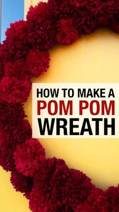 How to make a pom pom wreath with yarn and a pom pom maker. The perfect easy diy wreath for Christmas or Valentine's Day. Pom Pom Rug, Pom Pom Wreath, Diy Wreath, Wreaths Crafts, Santa Wreath, Christmas Pom Pom Crafts, Christmas Wreaths, Christmas Crafts, Cabin Christmas
