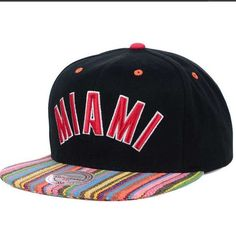 Miami Heat hat Show your support for the NBA and the Miami Heat this year with the Miami Heat NBA Native Stripe 2 Tone Snapback. Rain or shine, this Black hat will keep you in style all year long. Stay comfortable and cool with this structured hat, featuring a normal bill and high crown. Imported and made of woven cotton, this product requires easy spot clean product care. Represent your favorite team and sport all year long with Miami Heat Hats Color: Black Made of 100% Cotton, Woven…