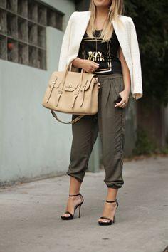 SS for eLUXE Bonjour tee, Aritzia pants, Rebecca Minkoff bag, Zara jacket, Zara heels