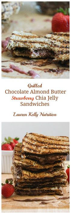 Grilled Chocolate Almond Butter Strawberry Chia Jelly with Daves Killer Bread Daves Killer Bread