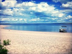 Our SouthBay pontoon boat sitting on the shores of Lake Diefenbaker! Pontoon Boat, Patio Design, Summer Time, Scenery, Beach, Water, Outdoor, Sweet, Gripe Water