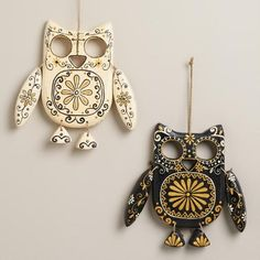 Black and Ivory Wooden Owl Wall Decor, Set of 2 | World Market