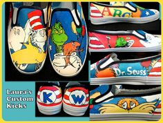 Custom Dr. Seuss shoes hand painted kicks. It features Horton hears a who, Green eggs and ham, The Grinch, Cat in the hat, and more.