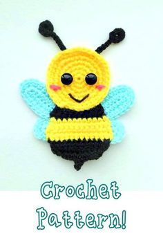 Bumble bee applique Crochet pattern, cute applique pattern for bags, crafting, scrapbooking and nursery wall art! You are in the right place about crochet Here. Marque-pages Au Crochet, Crochet Applique Patterns Free, Crochet Motifs, Crochet Amigurumi, Crochet Flower Patterns, Baby Knitting Patterns, Crochet Crafts, Crochet Flowers, Crochet Toys