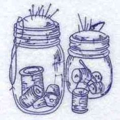 Thread and Jar pincushion to embroider in blue...other sewing theme patterns
