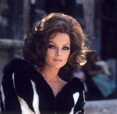Virna Lisi in black and white mink coat, photo by Angelo Frontoni, c.1969