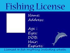 Kids Fishing License in Blue - Free Printable