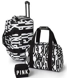 VICTORIA'S SECRET PINK LOGO 3 pc Luggage Travel Set Wheelie Duffle Makeup Bags