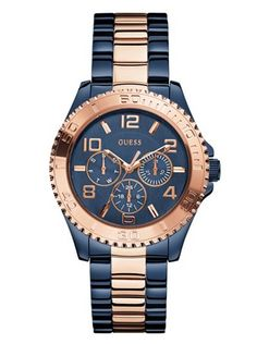 Blue and Rose Gold-Tone Feminine Sport Watch at Guess