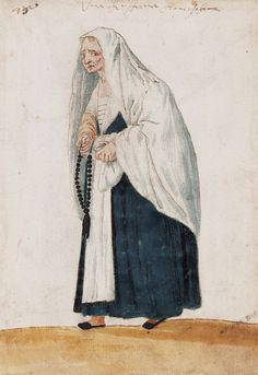 Republic of Venice (?] A Servant?The Venetian Woman in 'Mores Italiae,' 1575 Unknown Artist, Beinecke Rare Book and Manuscript Library, Yale University 17th Century Fashion, 16th Century, Rosary Beads, Prayer Beads, Republic Of Venice, Italian Renaissance, Venetian, Art Boards, Madonna