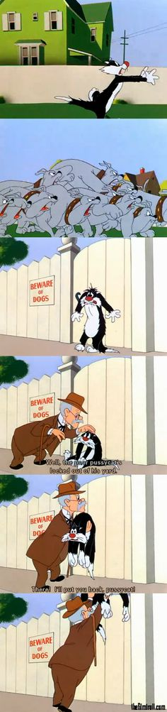 A funny picture about Sylvester the cat from an episode when he is running away from dogs.