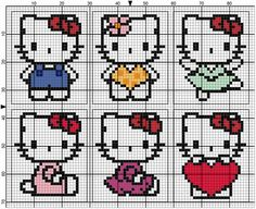 Kawaii Cross Stitch, Cross Stitch Baby, Cross Stitch Animals, Cross Stitch Flowers, Cross Stitch Patterns, Chat Hello Kitty, Pixel Crochet Blanket, Graph Paper Art, Cross Stitch Boards