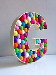 Items similar to Kids Room Decorative Letter G. Wall Letter G. on Etsy Letter G, Letter Wall, Free Standing Letters, Felt Ball, Diy Frame, Monogram Initials, Sprinkles, Kids Room, Wool