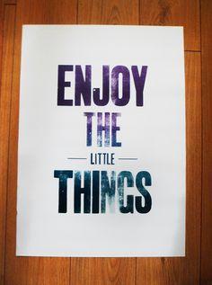Enjoy The Little Things Letterpress Poster on Behance