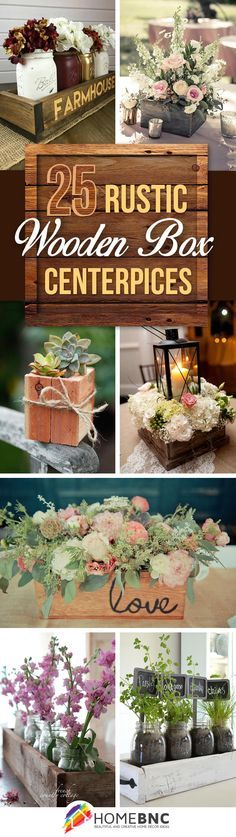 25 Simple and Cute Rustic Wooden Box Centerpiece Ideas to Liven Up Your Decor - Wedding table decorations centerpieces, Rustic wooden box centerpiece, Wooden box centerpiece, Wooden box diy, Rustic ce - Wooden Box Centerpiece, Rustic Wedding Centerpieces, Wedding Table Centerpieces, Decoration Table, Flower Centerpieces, Centerpiece Ideas, Wedding Rustic, Wedding Country, Wedding Decorations