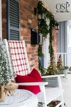 Easy Christmas Decorating Ideas | Festive, Fun & Fast | DIY inspiration for decorating your home for the holidays on a budget. Christmas porch decor, fresh greenery, plaid throw, red pillows.