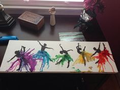 DIY rainbow melted crayon art canvas dance/dancer silhouette- perfect gift for a dancer friend! Cute Crafts, Diy Crafts, Sharpie Crafts, Dance Crafts, Diy Dance Gifts, Dance Teacher Gifts, Dancer Silhouette, Art Diy, Diy Canvas