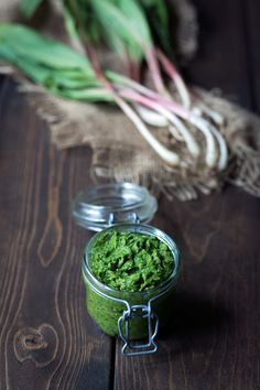 Ramp Pesto is a creamy bold flavored condiment highlighting wild leeks. Add it to pasta serve it with fish meat or poultry or spread it on crostini! Pesto Pasta Recipes, Pesto Recipe, Sauce Recipes, Gourmet Recipes, Canning Recipes, Pork Recipes, Healthy Recipes, Ramp Pesto, Crostini