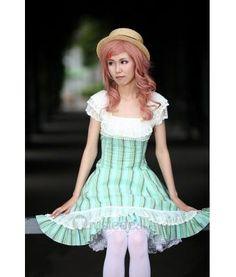 White and Light Turquoise Strips One Piece Lolita Dress $69.99 - Lolita Clothing - Lolita Dress - Trustedeal.com