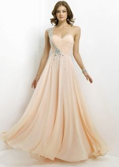 Beaded One Shoulder Light Apricot Pleated Prom Dresses