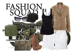 Go Military by koolkolourz on Polyvore featuring polyvore fashion style TNA Old Navy Promise Shoes Proenza Schouler Goorin Versace The Cambridge Satchel Company Bullet clothing military camouflage brown