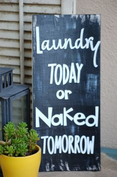 Laundry sign, wood l
